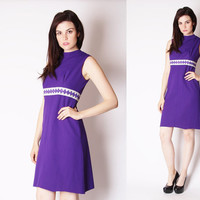 Vintage 1960s Dress - Mod Scooter Dress - 60s Purple Dress - Metallic Cocktail Dress - 2592