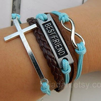 Fashion jewelry, leather bracelets, friend bracelets, cross bracelets, infinity bracelet, you are my best friend bracelets, friend gifts