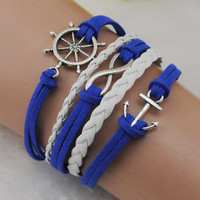 infinity anchor rudder bracelet, soft ropes women jewelry bracelet bangle friendship gift, Christmas Gift B225