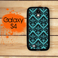 Samsung Galaxy S4 Phone Case Teal Damask  / Hard Case For S4 Rubber Trim For Galaxy S4