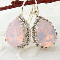 Pink opal Swarovski rhinestones teardrop earrings, Drop earrings, Bridal earrings, Bridesmaids gift, Dangle earrings, Silver plated earrings