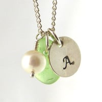 Personalized Pale Green Sea Glass Necklace - Handstamped Sterling Silver