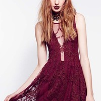 For Love & Lemons Lulu Lace Dress in Wine