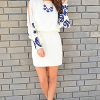 Watch Me Bloom Dress: Ivory/Navy