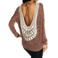 Rust Crochet Trim Back Dolman Top