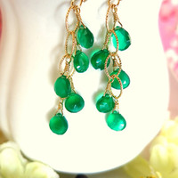 Emerald green onyx chandelier drop chain earrings, emerald green earrings, emerald green chandelier earrings, emerald green chandelier