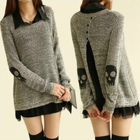 Skull Two Piece Suit Chiffon Shirt Sweater