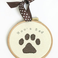 Personalised dog sign - custom pet art - gift for dog lover - dog paw print - embroidery hoop art - brown cream