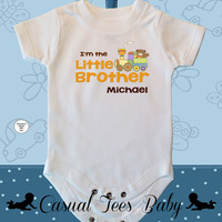 I'm the Little Brother Teddy Bear Train Baby Boy Bodysuit or Toddler Tee