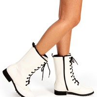 White Patent Combat Boot