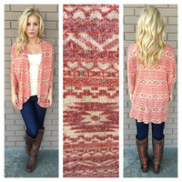 Brick Tribal Print Cardigan