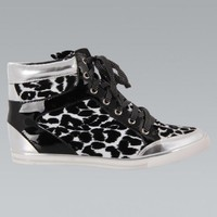 Black Leopard Print High Top Sneakers