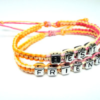 Friendship Bracelet Set, Best Friends, Orange and Pink Macrame Hemp - Ready to Ship
