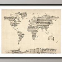 Map of the World Map from Old Sheet Music Art Print by artPause