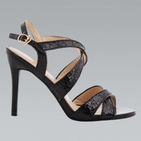 Black & Glitter Strap Open Toe High Heel Sandals