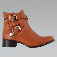 Dark Tank Faux Leather Double Buckle Ankle Boots