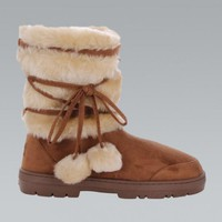 Chestnut Brown Faux Fur Tie Up Winter Boots
