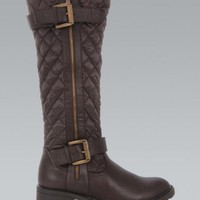 Brown Quilted Knee High Double Buckle Boots