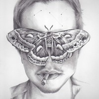 Boy with Moth Art Print by KatePowellArt