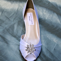 Snowflake Wedding Shoes Low Heel - Many colors - Wide Wedding shoes Available