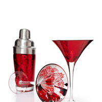 ARTLAND Red Brocade Martini Glasses and Shaker Set