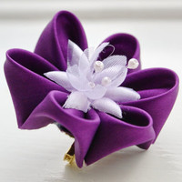 Purple Flower Brooch Pin Kanzashi Flower Corsage by cuttlefishlove