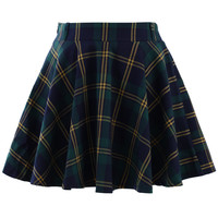 Green Plaid Check Skater Skirt