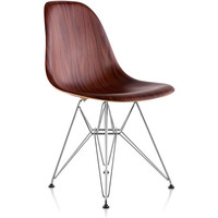 eames molded wood side chair - wire base