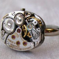 Steampunk Clockwork Ring Sleek Silver by Rivkasmom on Etsy