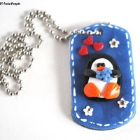 Penguin Necklace on Dog Tag with Hearts and Swarovski Rhinestones