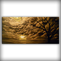 art painting metallic gold love gift silhouette tree landscape wall art wall decor large painting yellow sunset 48 x 24 Mattsart