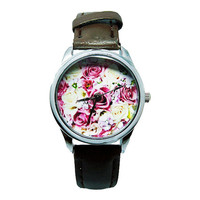 Floral Watch, Women's Brown Faux Leather Watch, Flowers Custom Watch