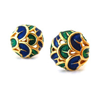 BOUCHER Enamel Peacock Earrings / Signed Blue Green Button Clip On / Vintage 1960s Jewelry