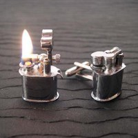 Mini REAL Working Vintage Lighter Cufflinks by YOUgNeek on Etsy