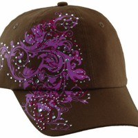 Tropical Trends by Dorfman Pacific Womens Pink Print Rhinestone Baseball Cap