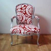Antique Oversized Silver Louis Red Damask Arm Chair