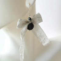 Black Lava Stone with Grey Silver Ribbon Earrings on Sterling Silver. Handmade Wrinkle Bow Jewelry