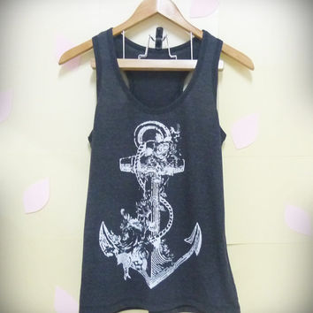 Flower anchor tank top ,teen shirt, women Tank Top BLACK movie Women teen size S,M,L,XL plus size singlet tshirt ladies blouse