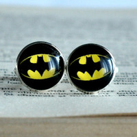 Batman Cuff Links Silver Plated Batman Sign Cufflinks Men Accessories Superheroes