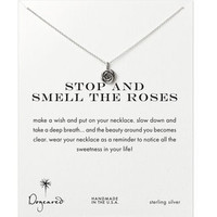 stop and smell the roses, rose necklace, sterling silver