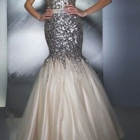 New Paillette Lace Mermaid Pageant Dresses Prom Ball Evening Dress Size 6 8 --16