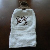 Embroidered Chocolate Lab Hanging Dish Towel With Hand Knit Topper
