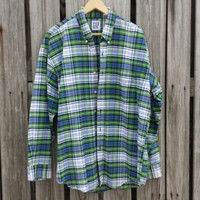 Vintage Men's Plaid Button Down Shirt - Green Blue Plaid Shirt - by GAP - SZ L - XL