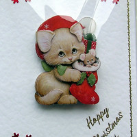 Christmas Card - Happy Christmas Hand-Crafted 3D Decoupage Card - Happy Christmas (1613)