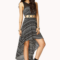 Tribal Print High-Low Dress