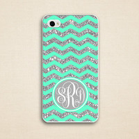 Glitter chevron IPhone 5 case - iphone 5S case, Iphone 5C case - mint green monogram iphone 5 case - gray monogram ( Not Actual Glitter )