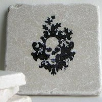Skull Tile Coasters Skeleton Skulls Goth Punk Day of by lterrill9