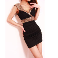 V-NECK LOW-CUT TIGHT PACKAGE HIP SEXY SEQUINED DRESS