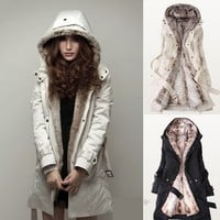 Coat with Faux Fur Rim