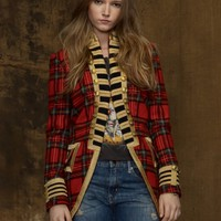 Tartan Officer's Coat - Outerwear   Women - RalphLauren.com